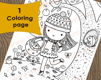 1 Apple picking on a fall day Coloring page, Autumn coloring page, Kids coloring page