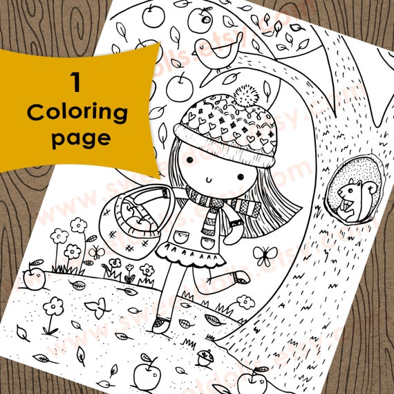 1 Apple Picking On A Fall Day Coloring Page Autumn Kids