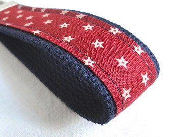 Wristlet Key Fob - Rustic Red and Khaki Stars - Patriotic Key Chain - READY TO SHIP