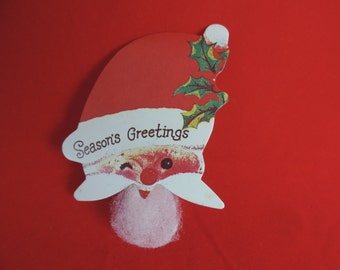 Santa gift tag vintage Christmas stick on bearded Claus paper die cut decoration gift tag new old stock