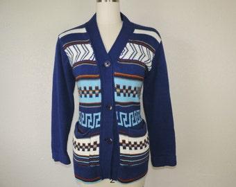 70s southwest cardigan boho chunky knit blue zig-zag knit sweater large XL