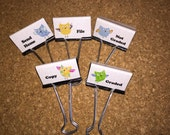 Owls Teacher Binder Clips Teacher Organization Clips Set of 5 Bright and Cheerful and Fun Set 3