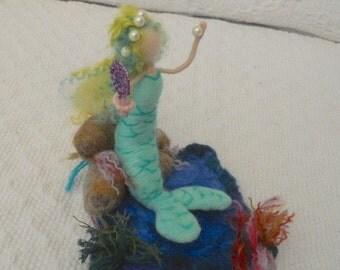 Needle Felted Mermaid Waldorf Sea Nymph Sea Goddess Play Mat Play Scape Sea Scape Nature Table Rock Pool Fantasy Wool MerMaid Sculpture