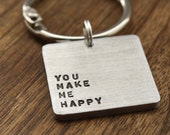 You make me Happy Keychain Personalized Valentines Day Personalized Key chain Husband Gift Christmas Mens Keychain Boyfriend Keychain