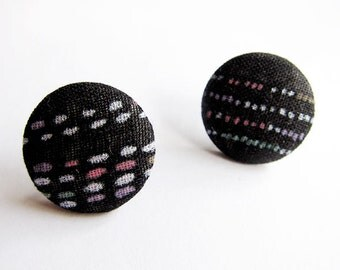 Clip On Earrings / Stud Earrings / Button Earrings - black dots earrings
