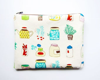 Zipper Pouch - Garden and Kitchen - Available in Small / Large / Long