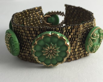 Vintage Czech Green Glass Button Beaded Bracelet by Marcie Stone