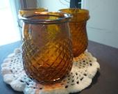 Amber Victorian Christmas Lights - Sconce Tea Lights - Honeycomb pattern  Depression Glass -  - 1890s charm Brock's Illuminathon