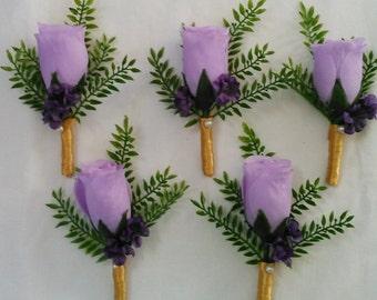 Boutonniere, Corsage Rosebud Lavender, Purple, Lilac, Silk Flower
