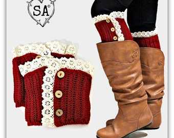 Red Lace & Button Boot Topper Cuff Warmer
