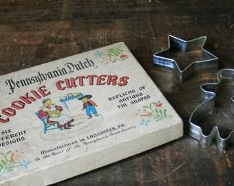 Antique Cookie Cutters, Pennsylvania Dutch Cookie Cutters, Primitive Amish Kitchen Clover, Tulip, Chick, Heart, Star, Butterprint