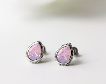 Pink Opalescent Swarovski Titanium Stud Silver Bezel Pear Shape Rosewater Opal Earrings