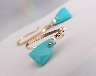 Turquoise Earrings, Sleeping Beauty Turquoise, Gold Earrings, Blue Turquoise Earrings, December Birthstone - Sunday Blues