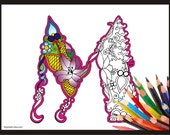 "Letter ""M"" Lilly style alphabet  Adult coloring page"