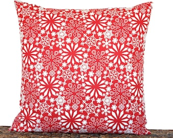 Snowflakes Christmas Pillow Cover Cushion Red White Nordic Rustic Holiday Primitive Decorative Repurposed 18x18