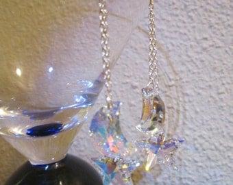 Swarovski Crystal Moon and Star Earrings, long version