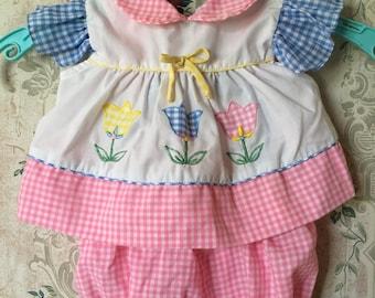 Adorable pastel tulip romper and diaper shirt set 0-6m