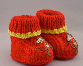 Hand Knit Baby Booties Red with Monkeys Size 3-6 months