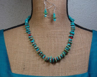 Natural Blue and Green Turquoise ,Red Coral Necklace and Earrings