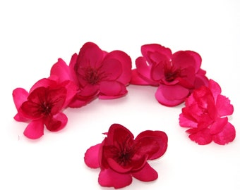5 Fuchsia or Dark Pink Apple Blossoms - Artificial Flowers, Silk Blossoms
