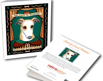 """Greyhound Cards """"Saint of Couch Potatoes"""" 6 Small Greeting Cards by Krista Brooks"""