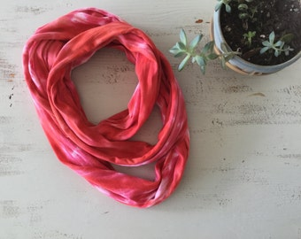Orange Red Infinity Circle Scarf / Gift for her / Shibori / Hand Dyed Jersey