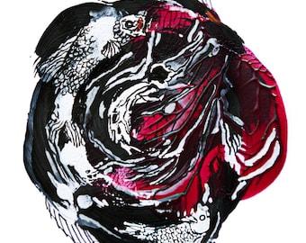 minimalist painting print: Coy Koi