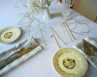 Metal wire table letters-MR & MRS