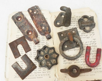 10 Salvaged Metal Industrial Found objects Hardware for Your Assemblage Steampunk Project