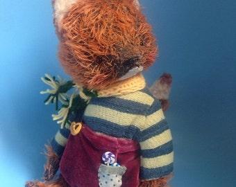 Birthday Sale 9 inch Artist Handmade Mohair Teddy Fox Huckleberry Finn by Sasha Pokrass