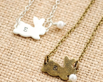 Bunny Girl's Necklace - Monogrammed Necklace - Personalized Necklace - Easter Jewelry, Easter Gift