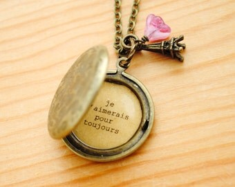 Je t'aimerais pour toujours - I will always love you locket - French Locket - Paris Jewelry, Romantic Gift, Anniversary Gift, Gift for wife