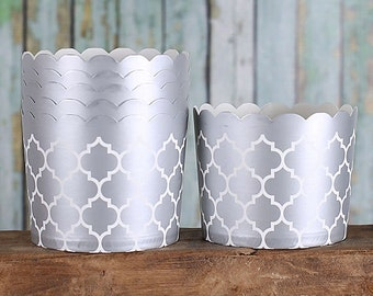 Silver Baking Cups, Large Cupcake Cups, Quatrefoil Candy Cups, Silver Wedding Favor Cups, Large Baking Cups, Silver Treat Cups (24)