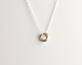 Mini Love Knot Pendant Necklace in Tri-Metal - Chainmaille Vortex Swirl Eternity