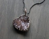 Love Heart Quartz Valentine Gift Necklace Druzy Amethyst Natural Stone Necklace Pendant Rough Stone
