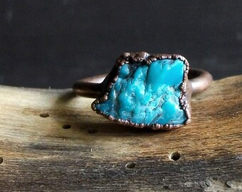Turquoise Ring Raw Gemstone Birthstone Size 8 December Copper Jewelry Robins Egg Blue