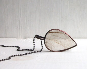 Quartz Necklace Rough Stone Jewelry Minimal Necklace Rutile Agate Pendant Quartz Stone Pendant Midwest Alchemy Statement