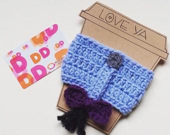 Eeyore inspired crochet coffee cozy, crochet cozy, coffee cozy/sleeve, cup cozy, Winnie the Pooh, disney coffee cozy
