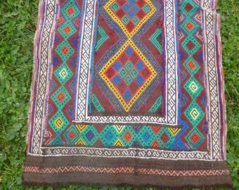 """Bright Runner Gazi hand woven Rug/Kilim/Tapis 6 ft 5"""" x 2 ft 1"""" 196x 64 cm"""