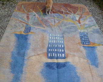 """Amazing Big Pictorial Woven Rug/Kilim/Tapis Trees 8 ft 2"""" X 6 ft 5""""  250 x 196 cm"""