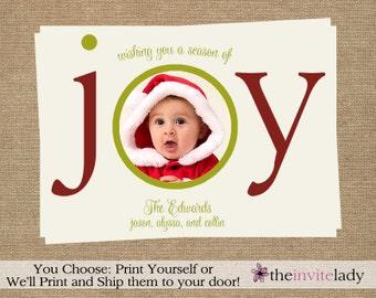 Photo Christmas Cards, Ivory, Happy Holidays, Season of Joy, Printed & Shipped Cards OR Print Yourself, DIY Digital File, Cream Christmas