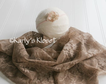 Newborn Stretchy Wrap, Mocha Brown Lace Wrap, Baby Girl Flower Headband, Newborn Baby Girl Photo Prop, Photography Layering Fabric Props