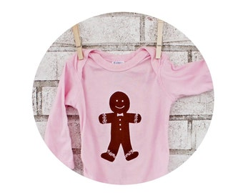 Gingerbread Man Cookie Holiday Onepiece Baby Bodysuit, Cotton, Infant Creeper, Pink Long Sleeved, long sleeves, Hand Printed, Made to Order