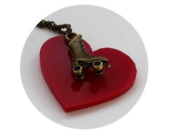 Roller Derby Roller Skate Necklace, Skating, Heart, Red, Love, Jewelry, Rollergirl, Roller Girl, Derby Wife