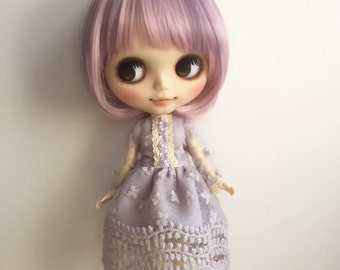 Blythe Dress,Long Sleeve ,Vintage Inspired, Pastel Lilac Fabric