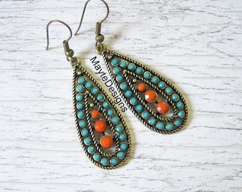 BEAUTIFUL/Turquoise and Brass Earrings/Turquoise and Coral Dangle Earrings/Turquoise Blue and Coral Earrings/Turquoise Earrings/Gift for Her