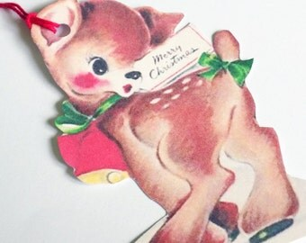Retro Fawn Tags - Set of 3 - Christmas Deer - Jingle Bell Deer - Gift Tags - Kitsch Deer Tags - Merry Christmas - 1950's Xmas  Tags -