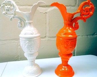 Mid Century Atomic Orange and Pure White Ceramic Pitcher Vases