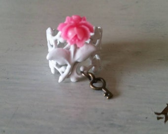 Secret Garden Hot Pink Mini Cabbage Rose Filigree Ring with Skeleton Key Charm