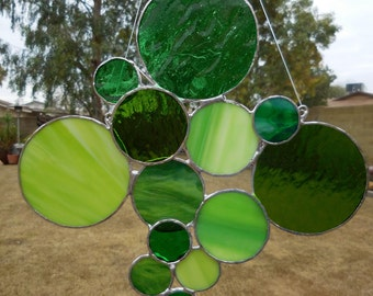 Stained Glass Panel Bubbles/Circles - Handmade - Unique - Suncatchers - Window Decor - Anniversary - House Warming - Birthday - Mothers Day
